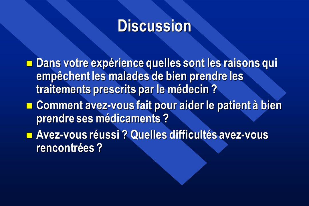 Discussion n Dans votre expérience quelles sont les raisons qui empêchent les malades de bien prendre les traitements prescrits par le médecin ? n Com
