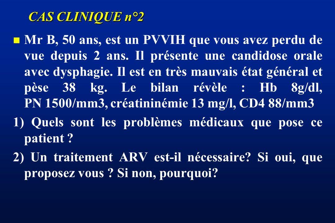 CAS CLINIQUE n°2 n n Mr B, 50 ans, est un PVVIH que vous avez perdu de vue depuis 2 ans. Il présente une candidose orale avec dysphagie. Il est en trè