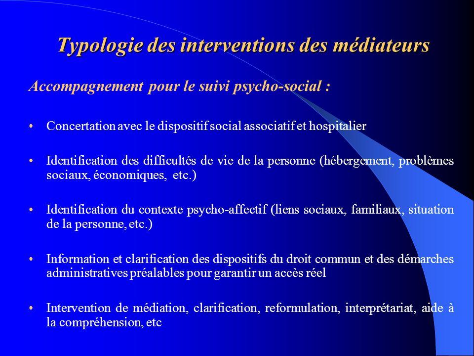Typologie des interventions des médiateurs Accompagnement pour le suivi psycho-social : Concertation avec le dispositif social associatif et hospitali