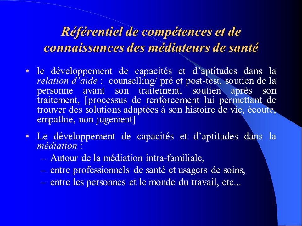 Référentiel de compétences et de connaissances des médiateurs de santé le développement de capacités et daptitudes dans la relation daide : counsellin