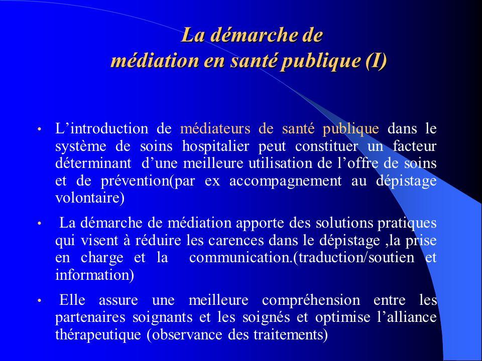La démarche de médiation en santé publique (I) La démarche de médiation en santé publique (I) Lintroduction de médiateurs de santé publique dans le sy