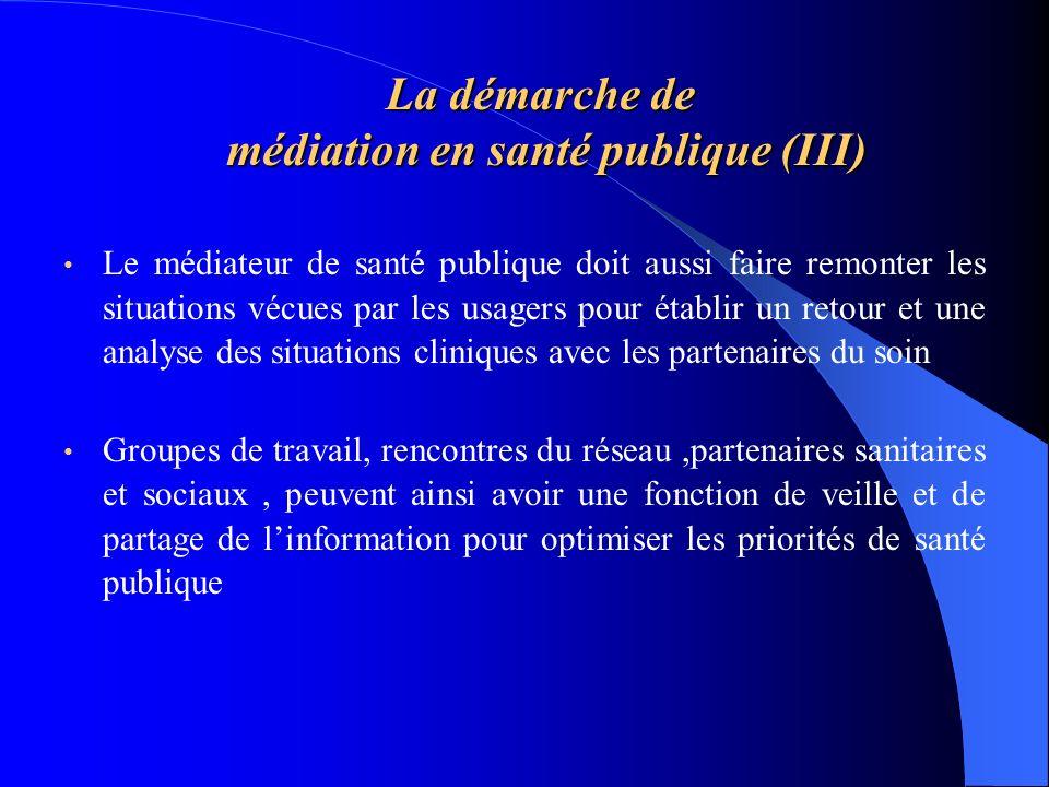La démarche de médiation en santé publique (III) Le médiateur de santé publique doit aussi faire remonter les situations vécues par les usagers pour é