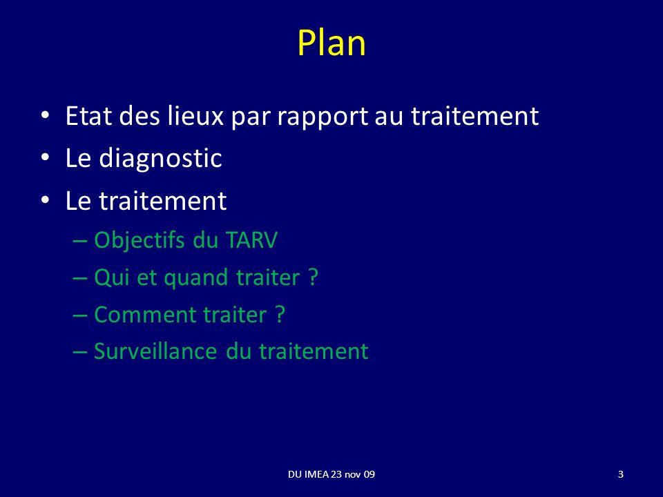 Plan Etat des lieux par rapport au traitement Le diagnostic Le traitement – Objectifs du TARV – Qui et quand traiter ? – Comment traiter ? – Surveilla