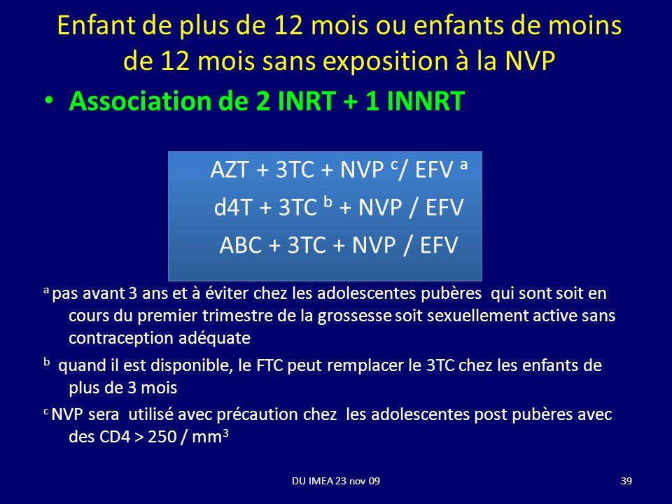 Association de 2 INRT + 1 INNRT AZT + 3TC + NVP c / EFV a d4T + 3TC b + NVP / EFV ABC + 3TC + NVP / EFV a pas avant 3 ans et à éviter chez les adolesc