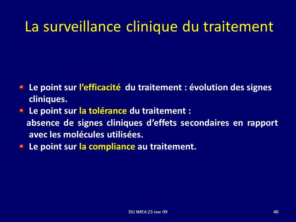 40 La surveillance clinique du traitement Le point sur lefficacité du traitement : évolution des signes cliniques. Le point sur la tolérance du traite