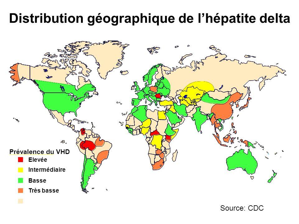 Prévalence du VHD Elevée Intermédiaire Basse Très basse No Data Taiwan Distribution géographique de lhépatite delta Source: CDC