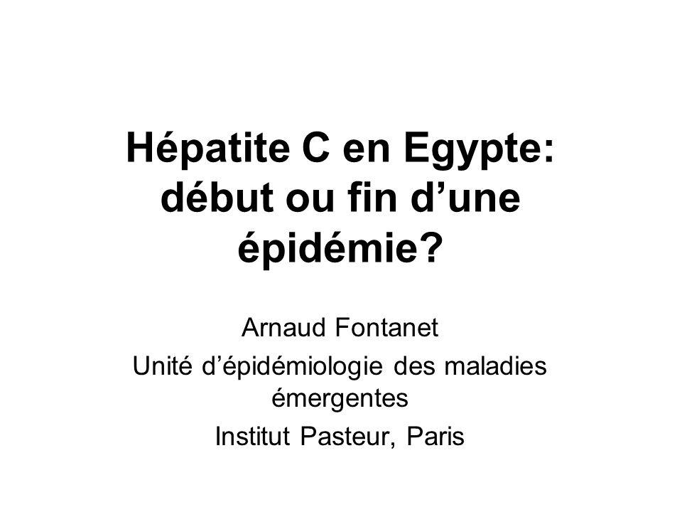 Hépatite C en Egypte: début ou fin dune épidémie? Arnaud Fontanet Unité dépidémiologie des maladies émergentes Institut Pasteur, Paris