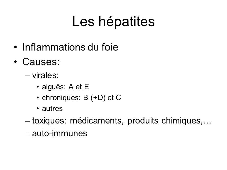 Les hépatites Inflammations du foie Causes: –virales: aiguës: A et E chroniques: B (+D) et C autres –toxiques: médicaments, produits chimiques,… –auto