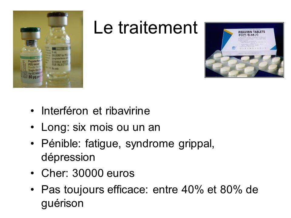 Le traitement Interféron et ribavirine Long: six mois ou un an Pénible: fatigue, syndrome grippal, dépression Cher: 30000 euros Pas toujours efficace:
