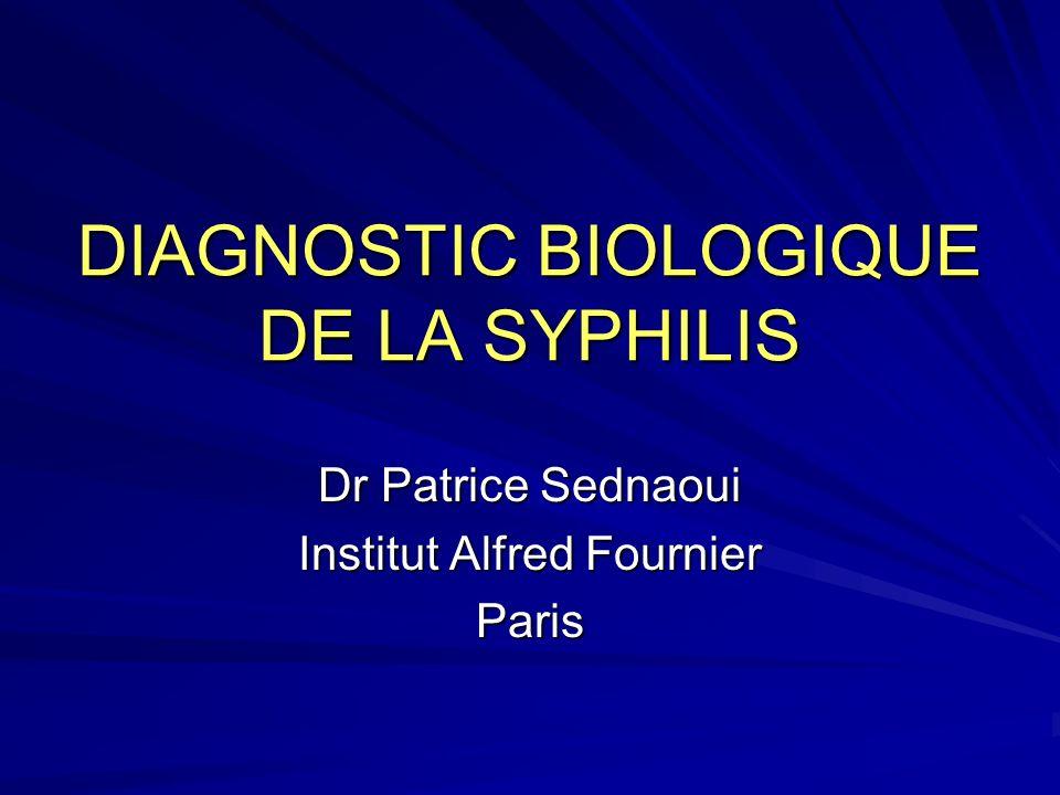 DIAGNOSTIC BIOLOGIQUE DE LA SYPHILIS Dr Patrice Sednaoui Institut Alfred Fournier Paris