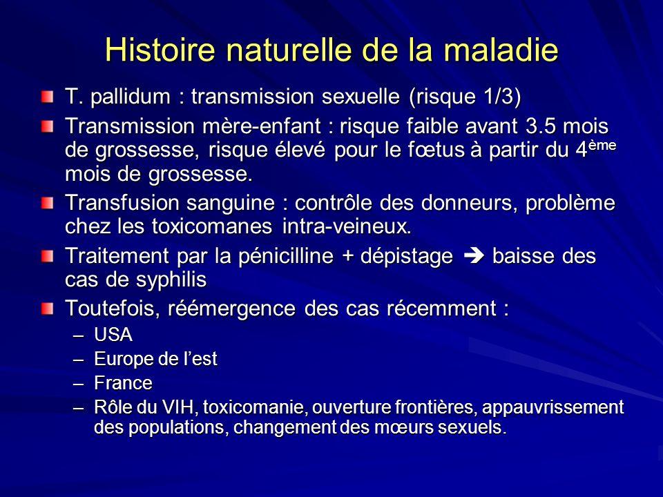 Histoire naturelle de la maladie T. pallidum : transmission sexuelle (risque 1/3) Transmission mère-enfant : risque faible avant 3.5 mois de grossesse