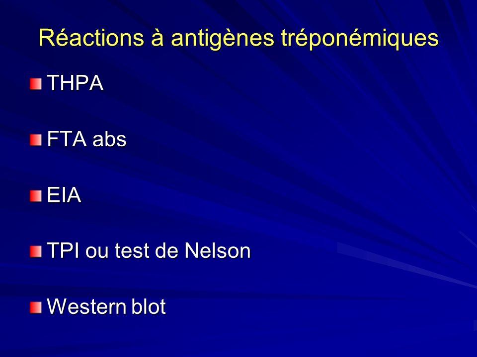 Réactions à antigènes tréponémiques THPA FTA abs EIA TPI ou test de Nelson Western blot
