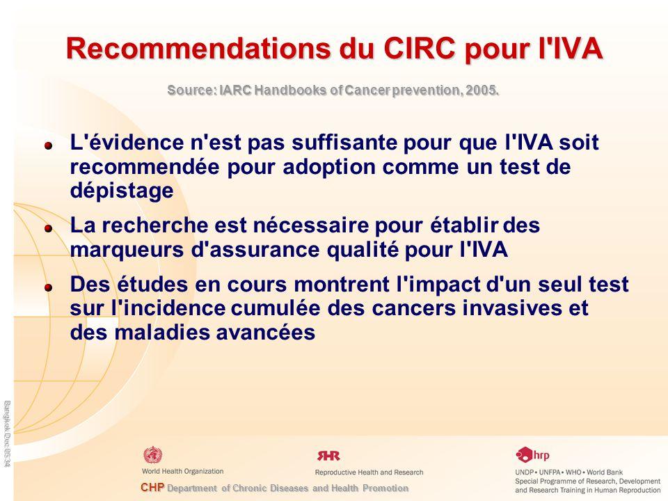 CHP Department of Chronic Diseases and Health Promotion Bangkok Dec 05 34 Recommendations du CIRC pour l'IVA L'évidence n'est pas suffisante pour que