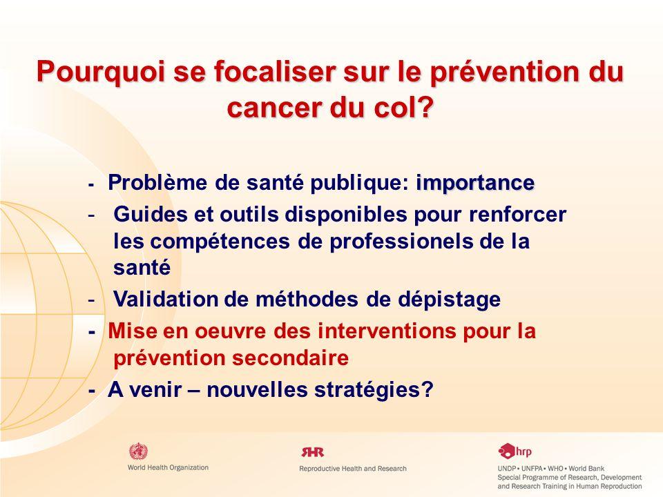 Pourquoi se focaliser sur le prévention du cancer du col? importance - Problème de santé publique: importance - -Guides et outils disponibles pour ren