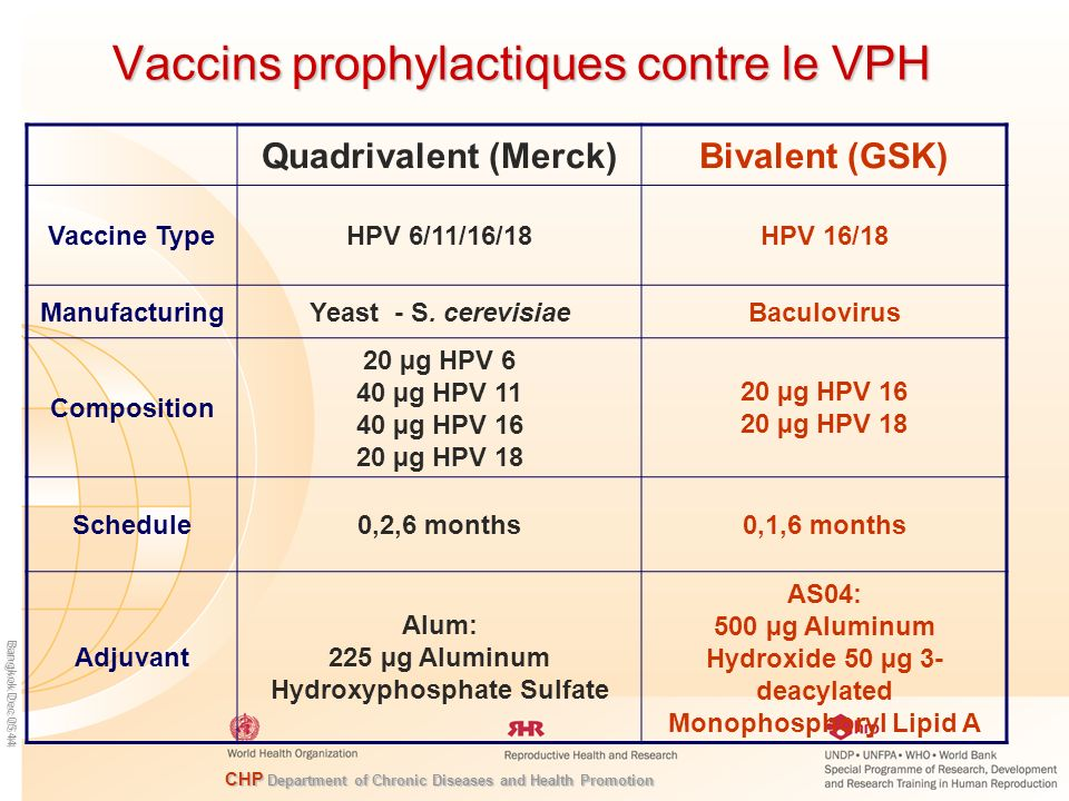 CHP Department of Chronic Diseases and Health Promotion Bangkok Dec 05 44 Vaccins prophylactiques contre le VPH Quadrivalent (Merck)Bivalent (GSK) Vac