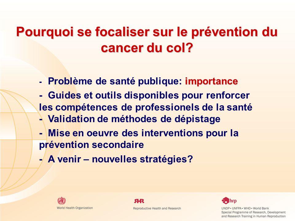 Pourquoi se focaliser sur le prévention du cancer du col? importance - Problème de santé publique: importance - Guides et outils disponibles pour renf