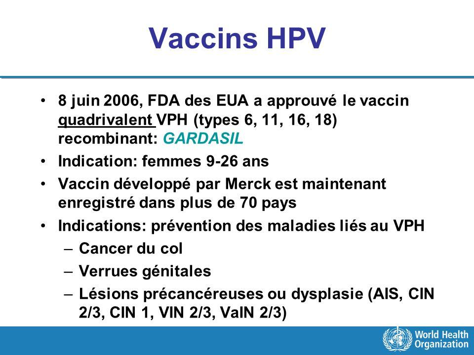 Vaccins HPV 8 juin 2006, FDA des EUA a approuvé le vaccin quadrivalent VPH (types 6, 11, 16, 18) recombinant: GARDASIL Indication: femmes 9-26 ans Vac