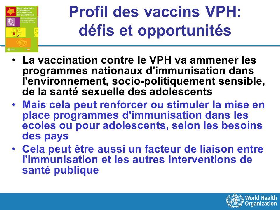 Profil des vaccins VPH: défis et opportunités La vaccination contre le VPH va ammener les programmes nationaux d'immunisation dans l'environnement, so