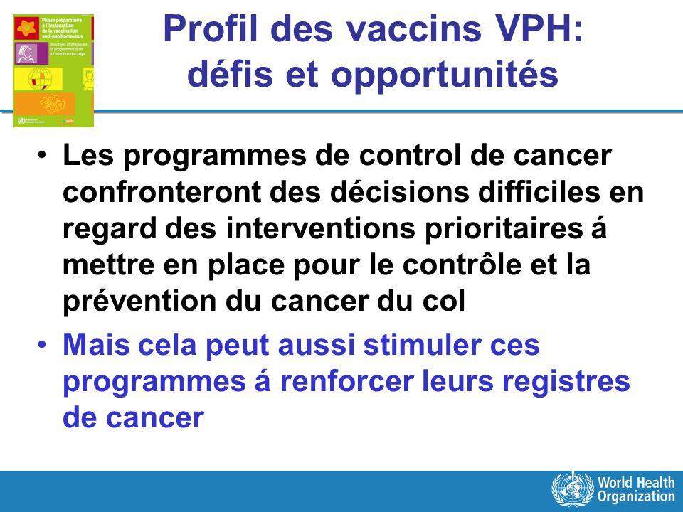 Profil des vaccins VPH: défis et opportunités Les programmes de control de cancer confronteront des décisions difficiles en regard des interventions p