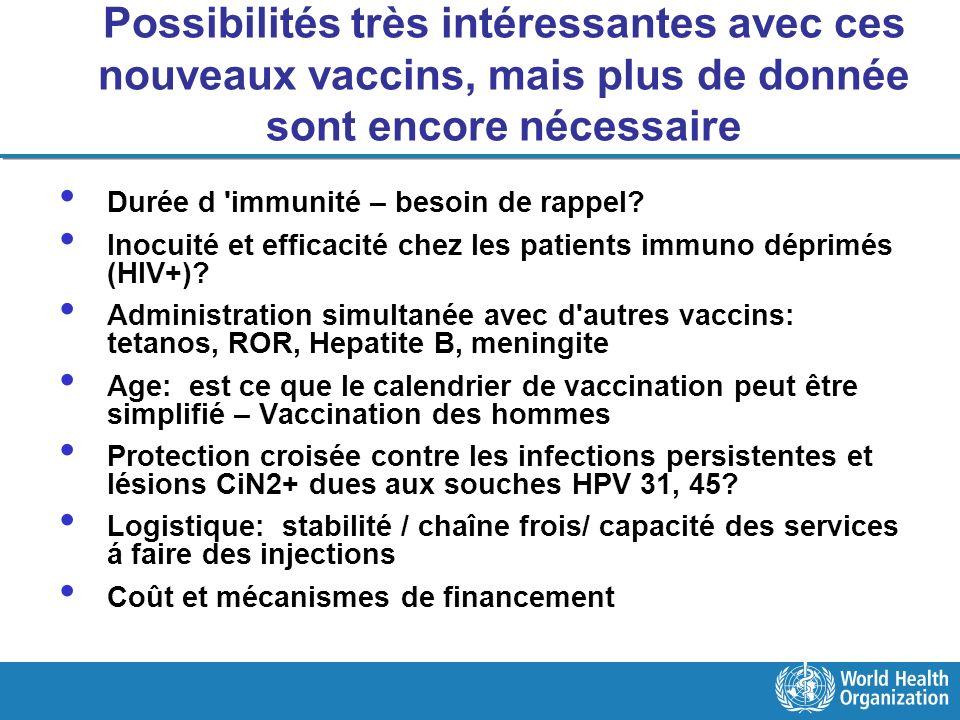 Possibilités très intéressantes avec ces nouveaux vaccins, mais plus de donnée sont encore nécessaire Durée d 'immunité – besoin de rappel? Inocuité e