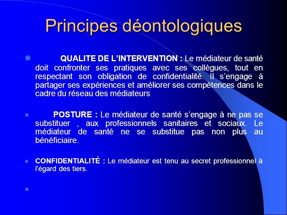 Principes déontologiques QUALITE DE LINTERVENTION : Le médiateur de santé doit confronter ses pratiques avec ses collègues, tout en respectant son obl