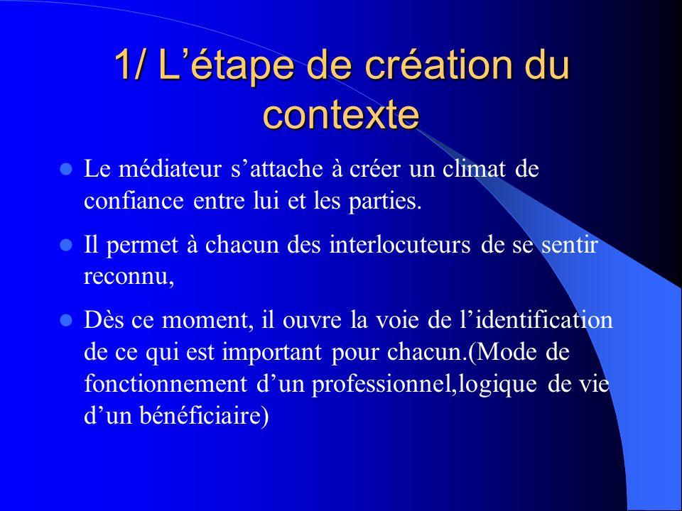 1/ Létape de création du contexte Le médiateur sattache à créer un climat de confiance entre lui et les parties. Il permet à chacun des interlocuteurs