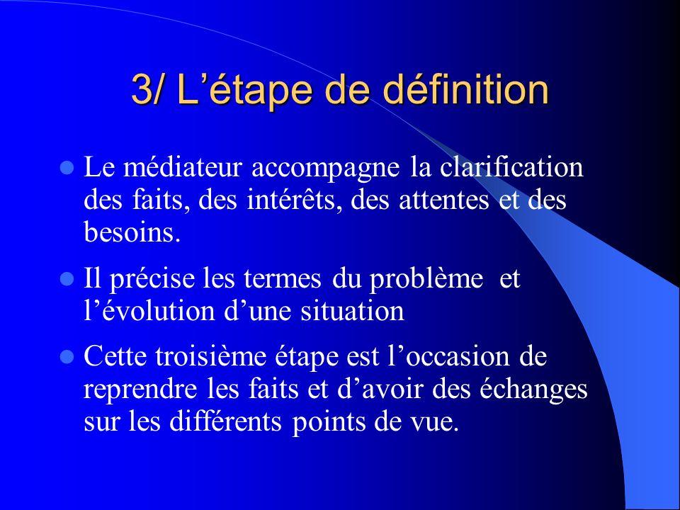 3/ Létape de définition Le médiateur accompagne la clarification des faits, des intérêts, des attentes et des besoins. Il précise les termes du problè