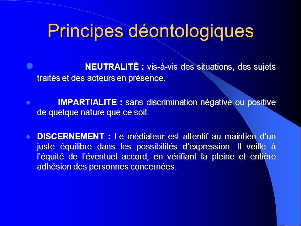 Principes déontologiques NEUTRALITÉ : vis-à-vis des situations, des sujets traités et des acteurs en présence. IMPARTIALITE : sans discrimination néga