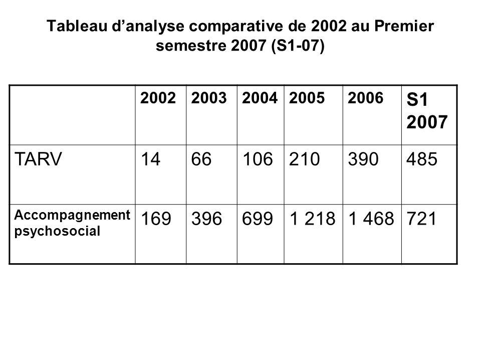 Tableau danalyse comparative de 2002 au Premier semestre 2007 (S1-07) 20022003200420052006 S1 2007 TARV1466106210390485 Accompagnement psychosocial 1693966991 2181 468721