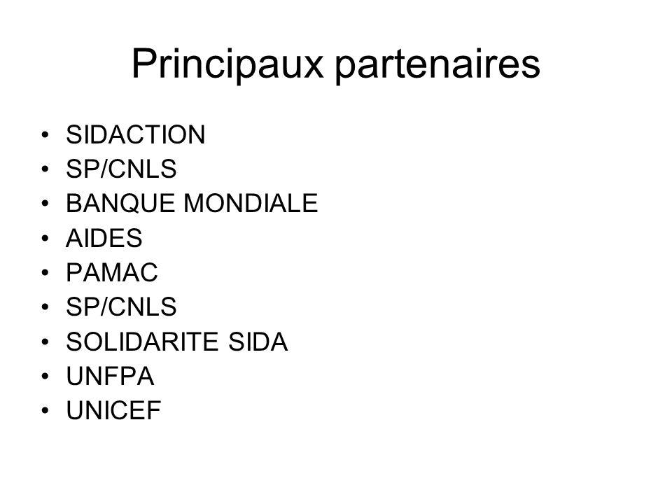 Principaux partenaires SIDACTION SP/CNLS BANQUE MONDIALE AIDES PAMAC SP/CNLS SOLIDARITE SIDA UNFPA UNICEF