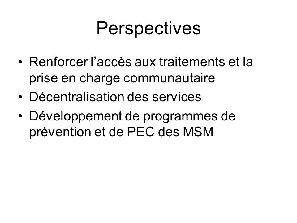 Perspectives Renforcer laccès aux traitements et la prise en charge communautaire Décentralisation des services Développement de programmes de prévention et de PEC des MSM