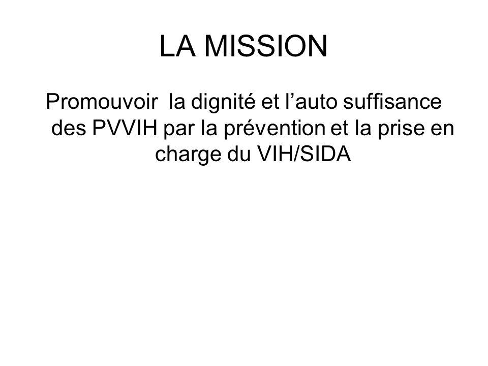LA MISSION Promouvoir la dignité et lauto suffisance des PVVIH par la prévention et la prise en charge du VIH/SIDA