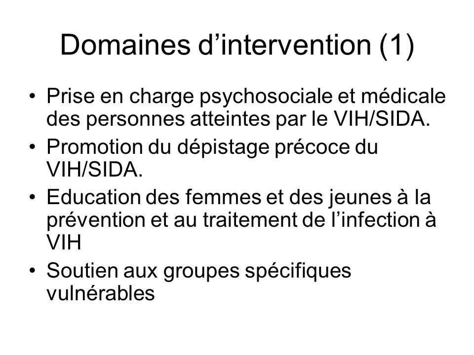 Domaines dintervention (1) Prise en charge psychosociale et médicale des personnes atteintes par le VIH/SIDA.