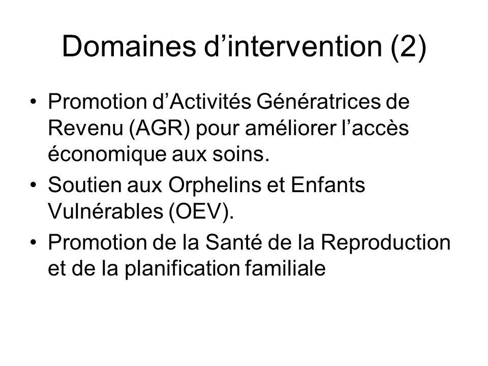 Domaines dintervention (2) Promotion dActivités Génératrices de Revenu (AGR) pour améliorer laccès économique aux soins.
