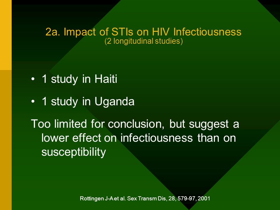 2a. Impact of STIs on HIV Infectiousness (2 longitudinal studies) 1 study in Haiti 1 study in Uganda Too limited for conclusion, but suggest a lower e