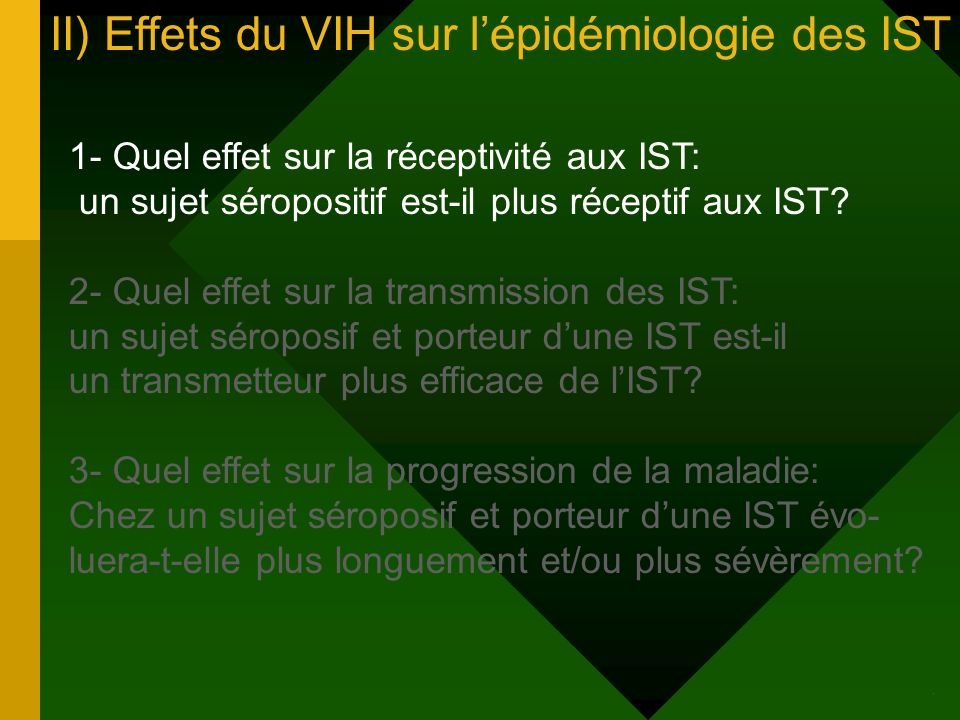 II) Effets du VIH sur lépidémiologie des IST 1- Quel effet sur la réceptivité aux IST: un sujet séropositif est-il plus réceptif aux IST.