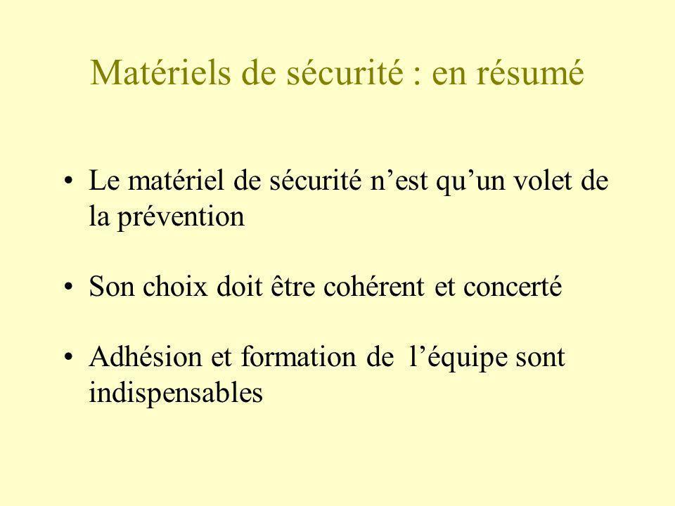 Matériels de sécurité : en résumé Le matériel de sécurité nest quun volet de la prévention Son choix doit être cohérent et concerté Adhésion et format