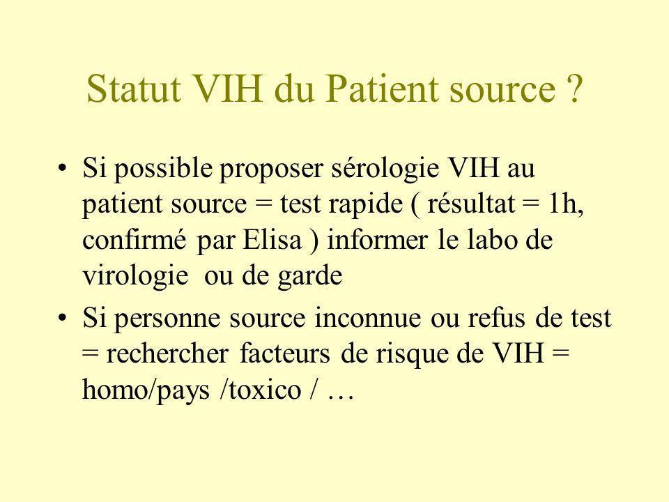 Statut VIH du Patient source ? Si possible proposer sérologie VIH au patient source = test rapide ( résultat = 1h, confirmé par Elisa ) informer le la