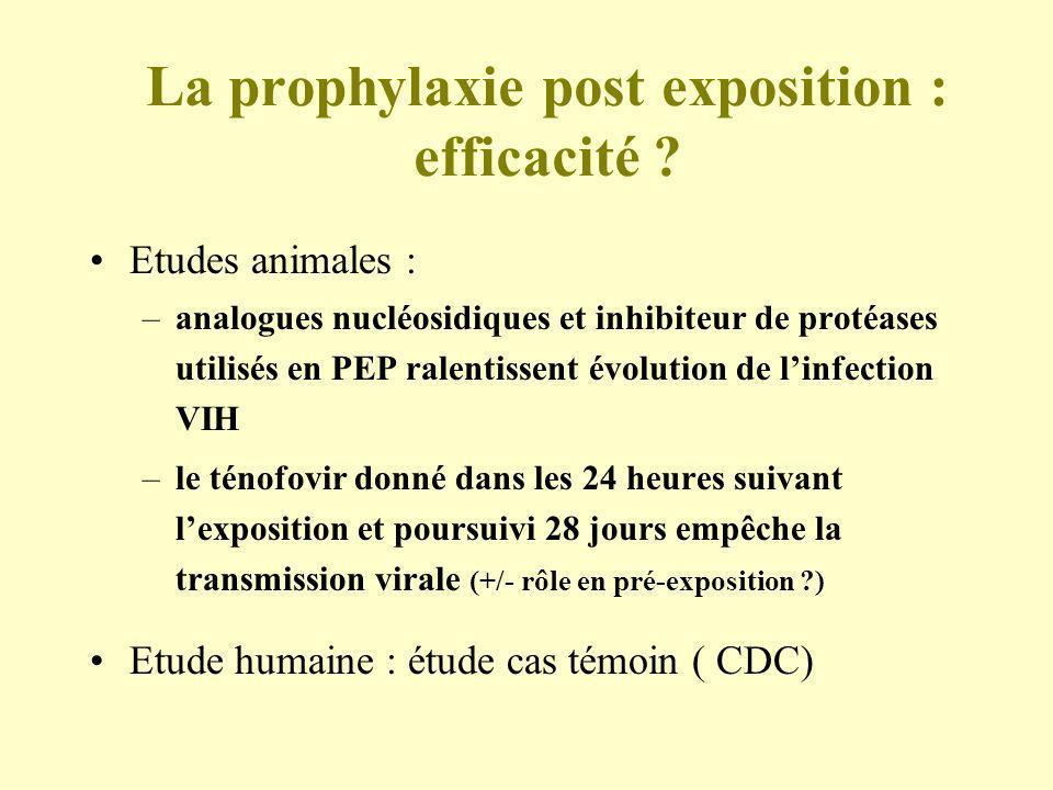 La prophylaxie post exposition : efficacité ? Etudes animales : –analogues nucléosidiques et inhibiteur de protéases utilisés en PEP ralentissent évol