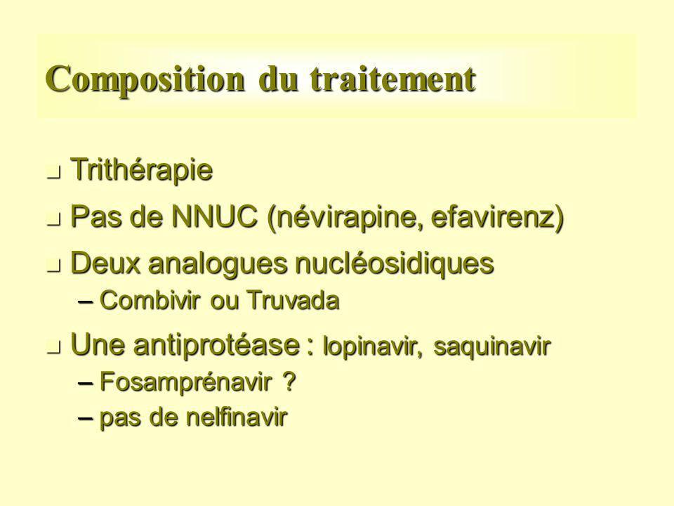 Composition du traitement n Trithérapie n Pas de NNUC (névirapine, efavirenz) n Deux analogues nucléosidiques –Combivir ou Truvada n Une antiprotéase