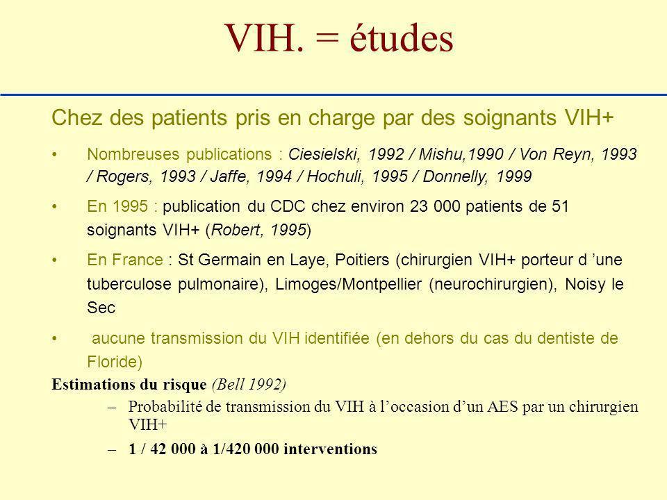 VIH. = études Chez des patients pris en charge par des soignants VIH+ Nombreuses publications : Ciesielski, 1992 / Mishu,1990 / Von Reyn, 1993 / Roger