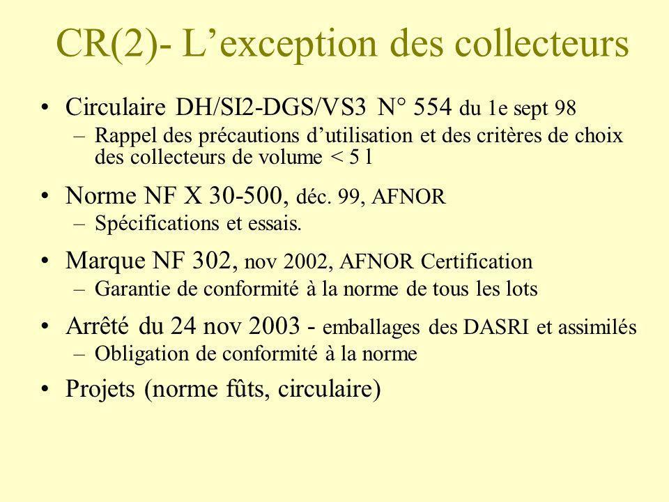 CR(2)- Lexception des collecteurs Circulaire DH/SI2-DGS/VS3 N° 554 du 1e sept 98 –Rappel des précautions dutilisation et des critères de choix des col