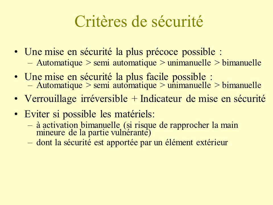 Critères de sécurité Une mise en sécurité la plus précoce possible : –Automatique > semi automatique > unimanuelle > bimanuelle Une mise en sécurité l