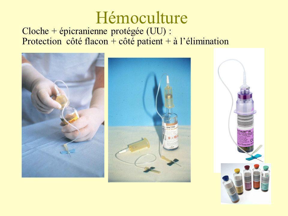Hémoculture Cloche + épicranienne protégée (UU) : Protection côté flacon + côté patient + à lélimination