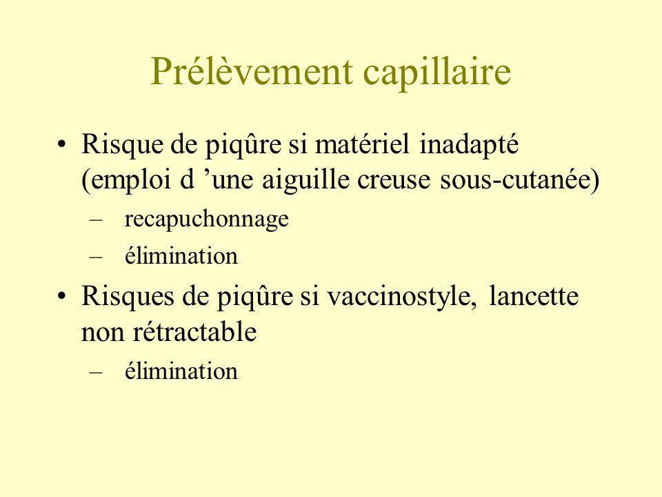 Prélèvement capillaire Risque de piqûre si matériel inadapté (emploi d une aiguille creuse sous-cutanée) –recapuchonnage –élimination Risques de piqûr