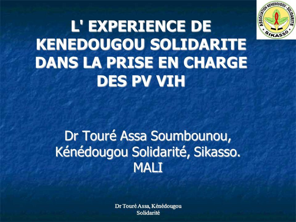 Dr Touré Assa, Kénédougou Solidarité 767TOTAL 01TDF+3TC+IND Deuxièmes lignes 09Autres 01TDF+3TC+NVP 01TDF+3TC+EFZ 01AZT/3TC/IDV/r 15AZT/3TC/IDV 01D4T+3TC+IDV/r 23D4T/3TC/IDV 37AZT/3TC/EFV 27D4T/3TC/EFV 48AZT/3TC/NVP 603D4T/3TC/NVP Premières lignes NombreTypes de traitement à Sikasso au 30 juin 07