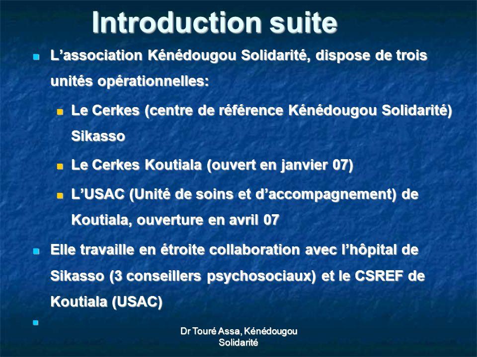 Dr Touré Assa, Kénédougou Solidarité Introduction suite Lassociation Kénédougou Solidarité, dispose de trois unités opérationnelles: Lassociation Kénédougou Solidarité, dispose de trois unités opérationnelles: Le Cerkes (centre de référence Kénédougou Solidarité) Sikasso Le Cerkes (centre de référence Kénédougou Solidarité) Sikasso Le Cerkes Koutiala (ouvert en janvier 07) Le Cerkes Koutiala (ouvert en janvier 07) LUSAC (Unité de soins et daccompagnement) de Koutiala, ouverture en avril 07 LUSAC (Unité de soins et daccompagnement) de Koutiala, ouverture en avril 07 Elle travaille en étroite collaboration avec lhôpital de Sikasso (3 conseillers psychosociaux) et le CSREF de Koutiala (USAC) Elle travaille en étroite collaboration avec lhôpital de Sikasso (3 conseillers psychosociaux) et le CSREF de Koutiala (USAC)