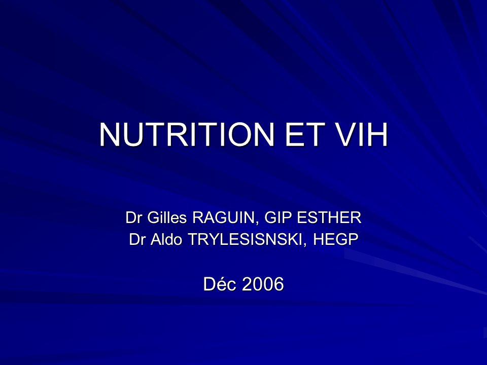 NUTRITION ET VIH Dr Gilles RAGUIN, GIP ESTHER Dr Aldo TRYLESISNSKI, HEGP Déc 2006