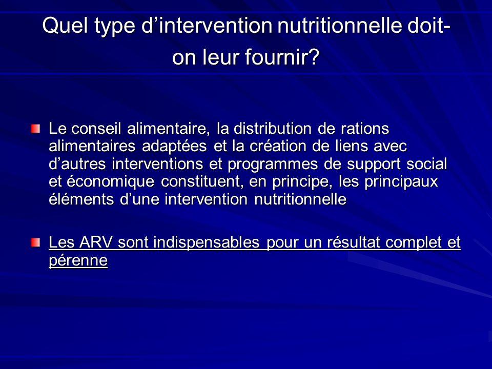 Quel type dintervention nutritionnelle doit- on leur fournir? Le conseil alimentaire, la distribution de rations alimentaires adaptées et la création