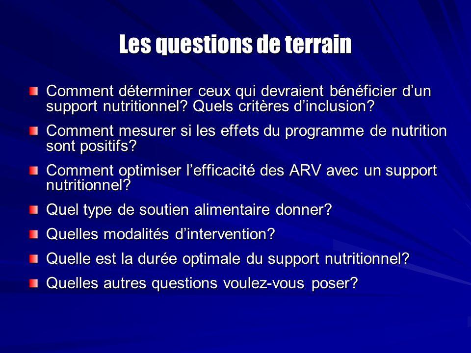 Les questions de terrain Comment déterminer ceux qui devraient bénéficier dun support nutritionnel? Quels critères dinclusion? Comment mesurer si les